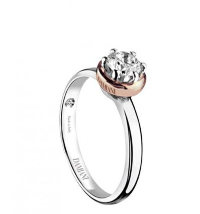 White and Rose Gold with ct 0,40 Diamond Solitair Ring Queen Damiani | Ferro Gioielli