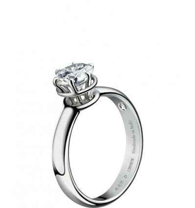 White Gold with Diamond Solitair Ring Minou Damiani | Ferro Gioielli