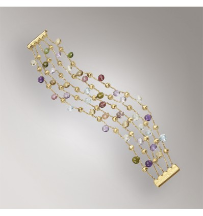 Yellow Gold & Mixed Stone Five Strand Bracelet Paradise Marco Bicego BB922 MIX01 Y | Ferro Gioielli