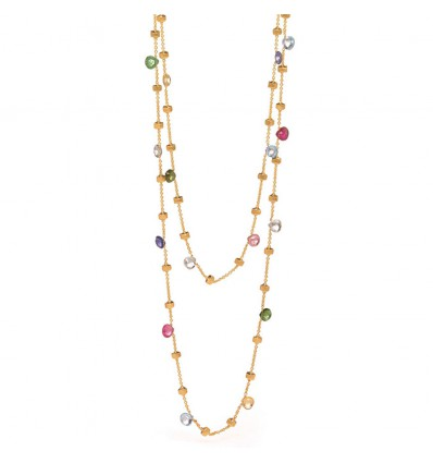 Yellow Gold & Mixed Colored Stones Long Necklace Paradise Marco Bicego CB1199 MIX01 Y | Ferro Gioielli